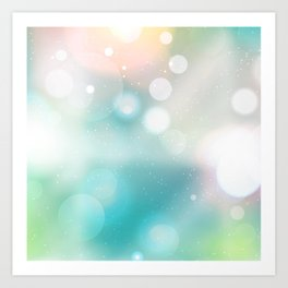 Bokeh Sparkle Aqua Lime White Lights Pattern Art Print