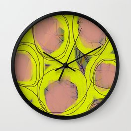 Pink and Bright Lime Yellow Swirl Dot Abstract Wall Clock