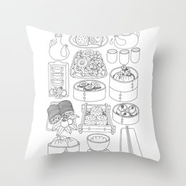 Sunday Dim Sum - Line Art Throw Pillow