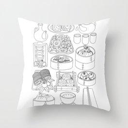 Sunday Dim Sum - Line Art Throw Pillow