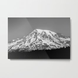 Mount Rainier Black and White Metal Print
