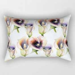 Sublime Bouquet Arum Calla Lilies in Watercolor Rectangular Pillow