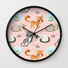Cute Cat and Fish Pattern – Light Pink Polka Dots Wall Clock