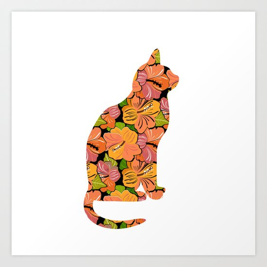 Cat Silhouette With Hibiscus Flowers Inlay Art Print