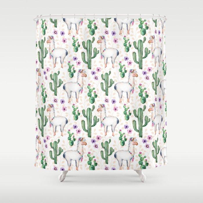 Llama Llamarama + Cactus Shower Curtain