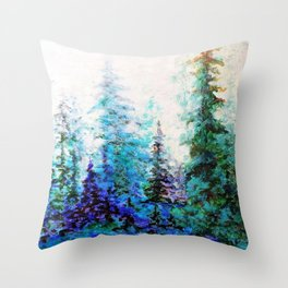 BLUE MOUNTAIN PINES LANDSCAPE Throw Pillow