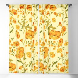 Amber flowers on a delicate yellow color - series A Blackout Curtain