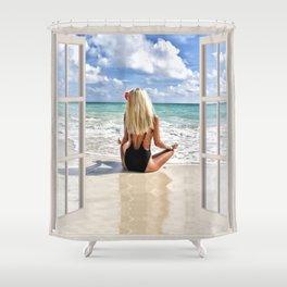 Blonde Hair on the Beach | OPEN WINDOW ART Shower Curtain