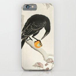 Crow eating persimmon Fruit - Vintage Japanese Woodblock Print Art iPhone Case