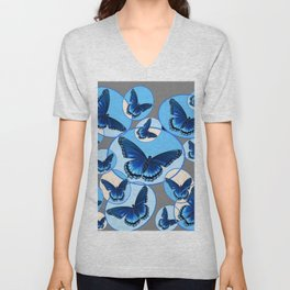ABSTRACT MODERN ART CIRCLE PATTERNED  BLUE BUTTERFLY FLOCK Unisex V-Neck
