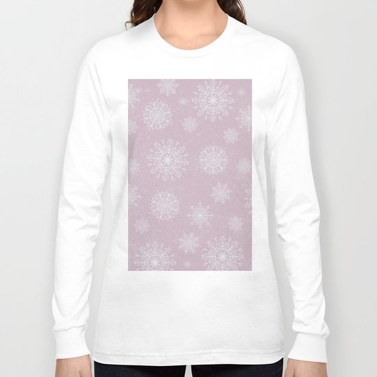 Assorted Snowflakes On Pink Background Long Sleeve T-shirt