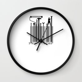 Funny Worker Tradesman Barcode Tool Wall Clock