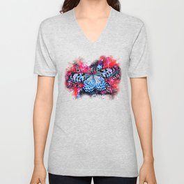 butterfly beautiful strong free splatter watercolor blue red Unisex V-Neck