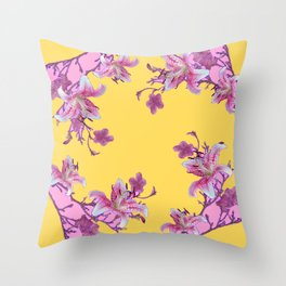 DECORATIVE YELLOW MODERN ART FLORAL Throw Pillow