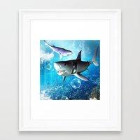 shark Framed Art Prints featuring Shark by nicky2342