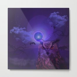The Owl and the Purple Moon Metal Print