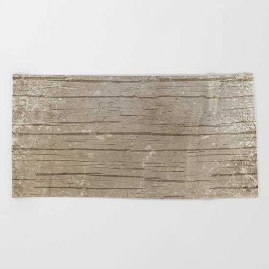 Nautical Driftwood Wood Grain Pattern Beach Towel