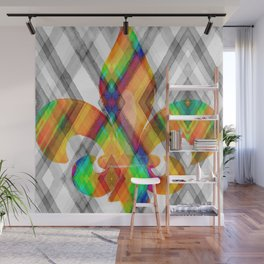 Fleur De Lis Diamond Pattern Wall Mural