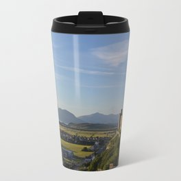 Harlech Castle and the Snowdonia mountains Travel Mug