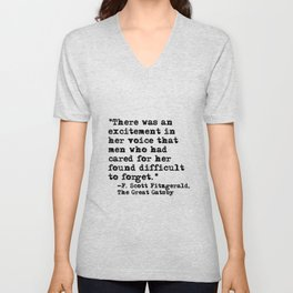 Excitement in her voice ― Fitzgerald quote Unisex V-Neck