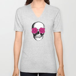 Skull and Roses | Skull and Flowers | Vintage Skull | Grey and Pink | Unisex V-Neck