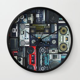 Retro Pop Eighties Boombox Radio Pattern Wall Clock