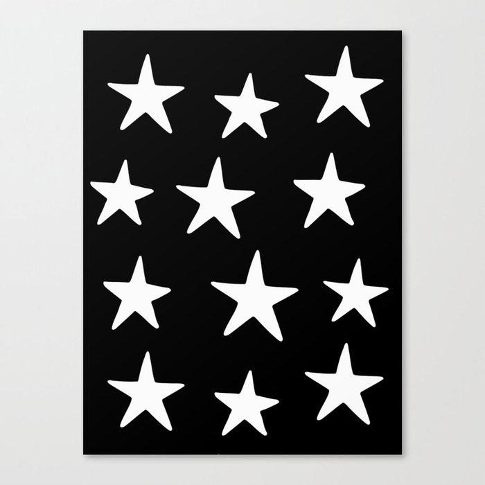 Star Pattern White On Black Leinwanddruck