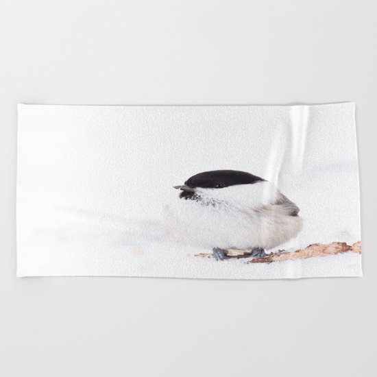 Cute Willow Tit sitting in the snow Beach Towel