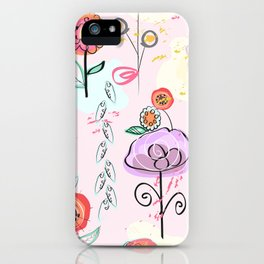 Hand Drawing Abstract Flowers. Pastel Colored Colorful Spring Pattern iPhone Case