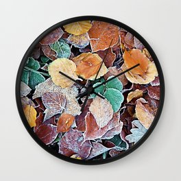 Icy Autumn Leaves Wall Clock