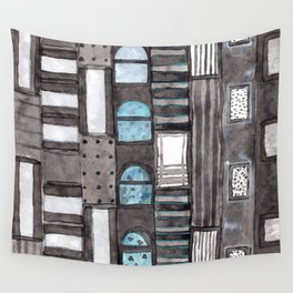Gray Facade with Lighted Windows Wall Tapestry