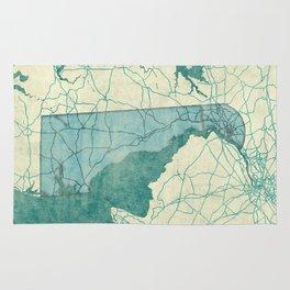 Delaware State Map Blue Vintage Rug