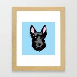 Black Scottie Dog on Blue Background Framed Art Print