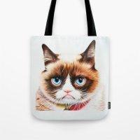 grumpy Tote Bags featuring grumpy by AngelaArt