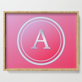 Silver and Pink Monogram - A Serving Tray