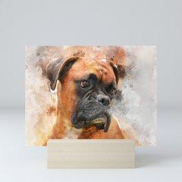 Boxer Dog Thinking Mini Art Print