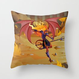 female demon with trident Throw Pillow