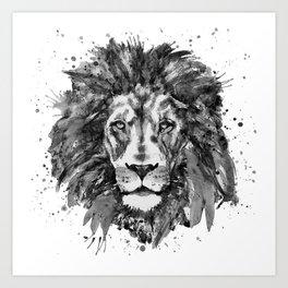 Black and White Lion Head Art Print