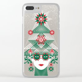 Christmas woman tree Clear iPhone Case