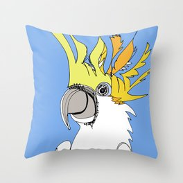 Yellow Crested Cockatoo in blue Throw Pillow