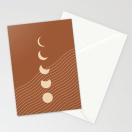 Moon Phases in Terracotta and Beige 5 (Moon and Ocean abstraction) Stationery Cards