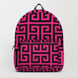 Greek Key (Dark Pink & Black Pattern) Backpack