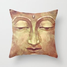 Relaxing Warm Buddha Watercolor Portrait Painting in Orange, Yellow, Green Throw Pillow