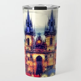 Prague Church Of Our Lady Before Tyn Watercolor Travel Mug