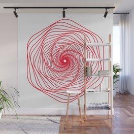 Red Minimal geometric mandala design Wall Mural
