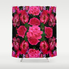 GARDEN ART OF FUCHSIA PINK ROSES Shower Curtain