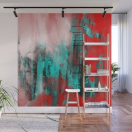 Intense Red And Blue Wall Mural