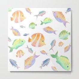 Sea Fish Watercolour Pattern Metal Print