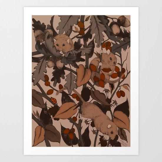 3 little Dormice coloured Art Print