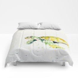 turtle watercolor art Comforters
